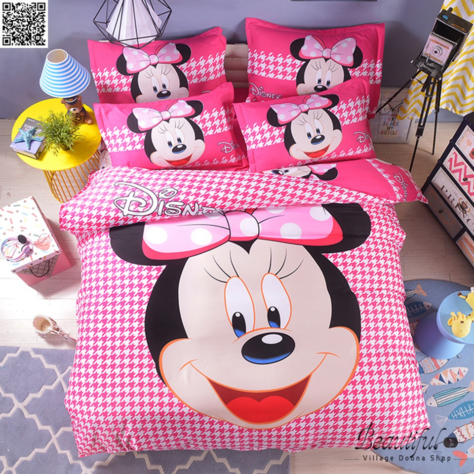 Disney Mickey Minnie Mouse Bedding Set Twin Full Queen King Single Double Super King Size Duvet Cover Pillow Cases 3pcs New