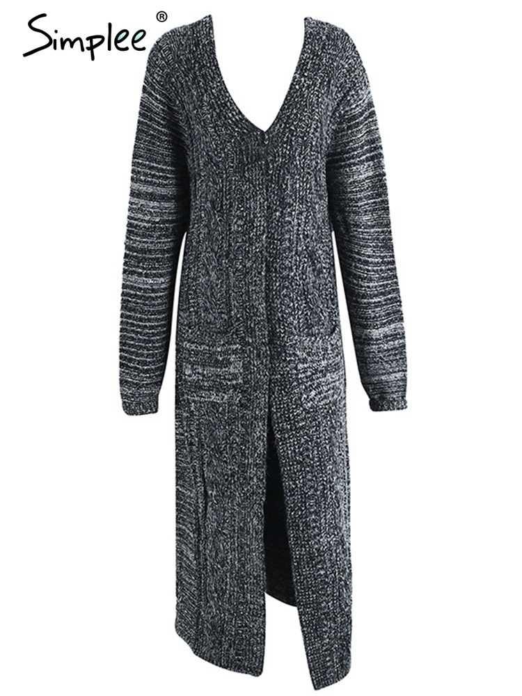 Simplee вязаный кашемировый длинный кардиган теплый Макси плюс размер кардиган 2017 Новый осенне-зимний свитер с длинными рукавами кардиган
