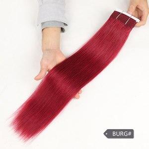Image 5 - מלוטש זוגי Drawn ברזילאי יקי שיער אדם ישר Weave חבילות רמי צבע טהור חום בורגונדי האדום 99J שיער חבילות 113 גרם