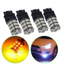 LaLeyenda 4X 3157 60SMD 3528 Dual Color Switchback Led Turn Signal Lights Stop Brake Car Parking Bulb Yellow and white Amber 12V zauleon 2pcs 1157 led switchback bulb white amber yellow led dual color for car drl front turn signal light