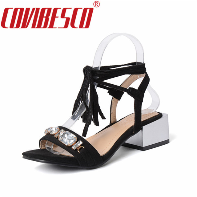 8c75f91666e COVIBESCO Summer Fashion Dress Shoes Ankle Strap Crystal Thick High Heels  Sandals Black Apricot Orange Wedding Party Shoes