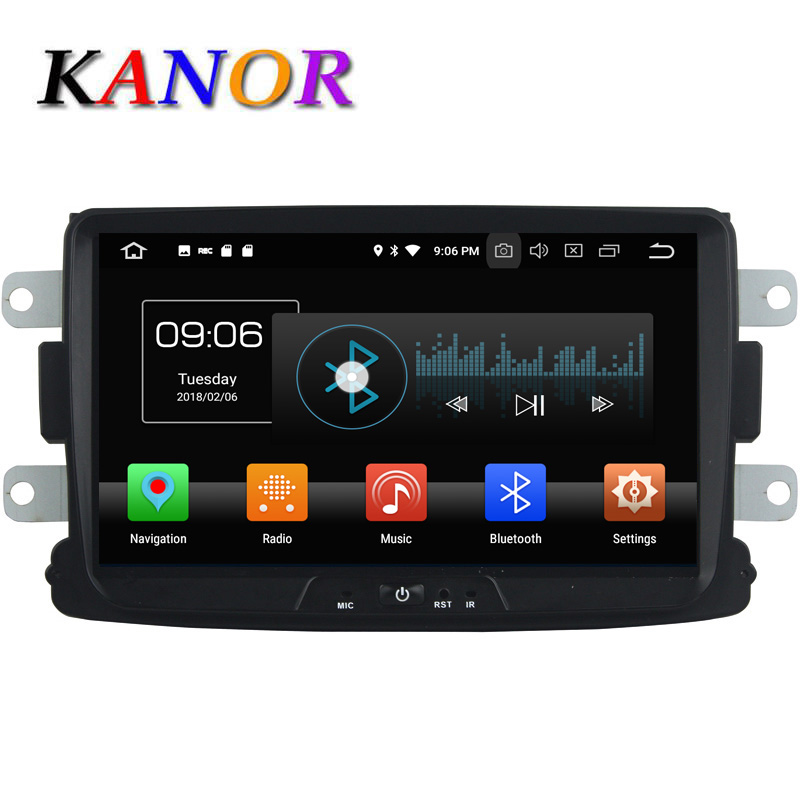 KANOR Octa Core Android 8.0 4+32g 2din Car Radio For Renault Duster Sandero Logan Dacia GPS Satnavi Headunit 2 Din Android