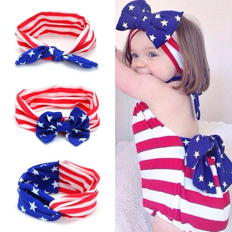 Europa og USA Pop American Flag Children Rabbit Ears Cross Bow Tie - Klær tilbehør