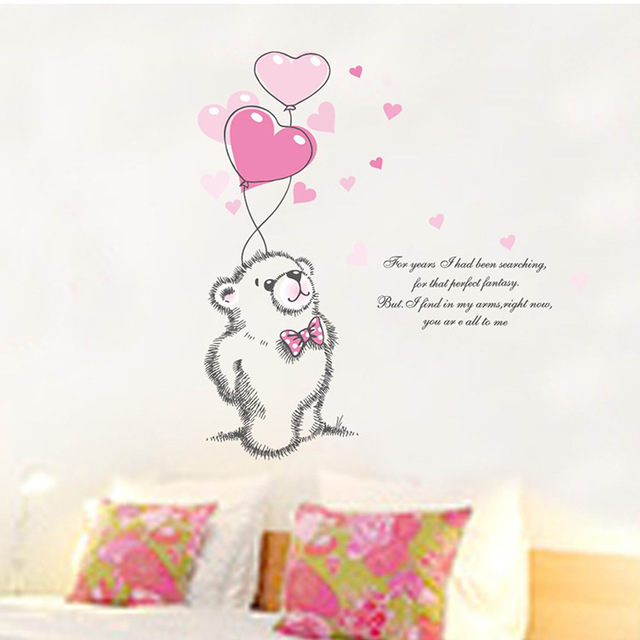 Pink love bear balloon baby bedroom wall stickers nursery decals sticker valentines day girl kids gifts