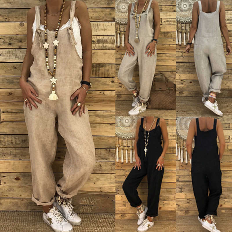 Fashion New Women Casual Strap Dungarees Overalls Jumpsuit Ladies Girls Trousers Pants Long Loose Solid Playsuit