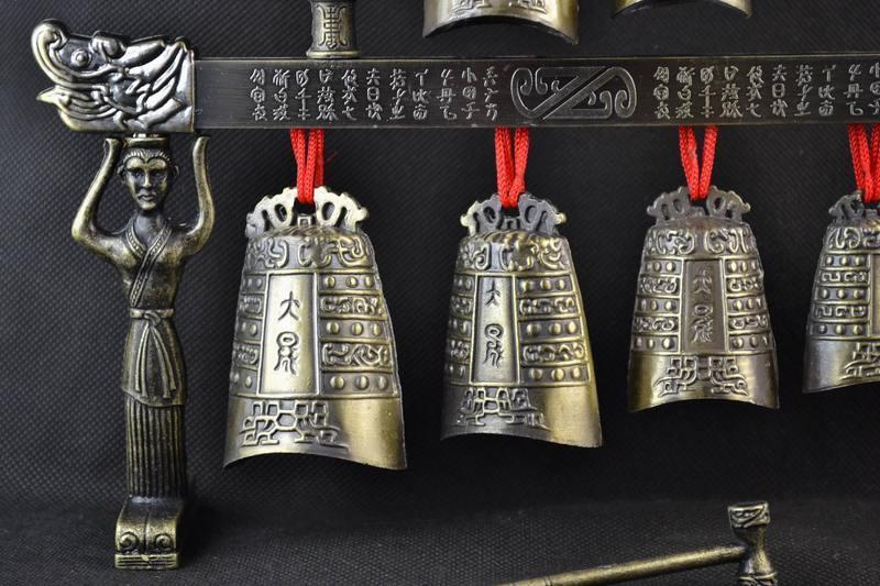 Pirinç qədim Çin musiqi alətində Çin Tibet dragon glockenspiel - Ev dekoru - Fotoqrafiya 2