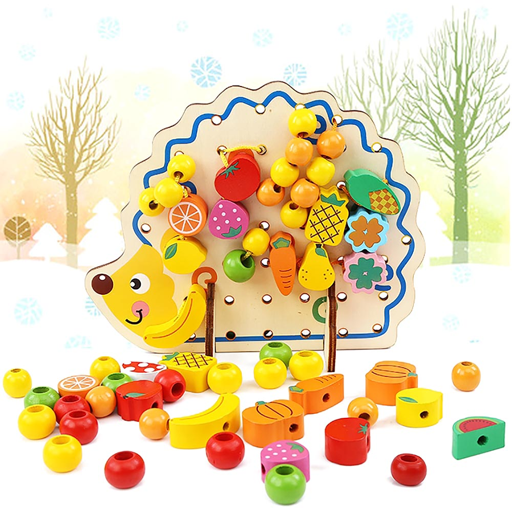 Blocos 1 conjunto criativo ouriço madeira 1 : Wood Hedgehog Toy