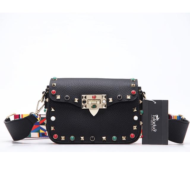 High Quality PU Leather Women Crossbody Bags Fashion Color Rivet Design Women Shoulder Bags Color Shoulder Strap Ladies Bag 2017