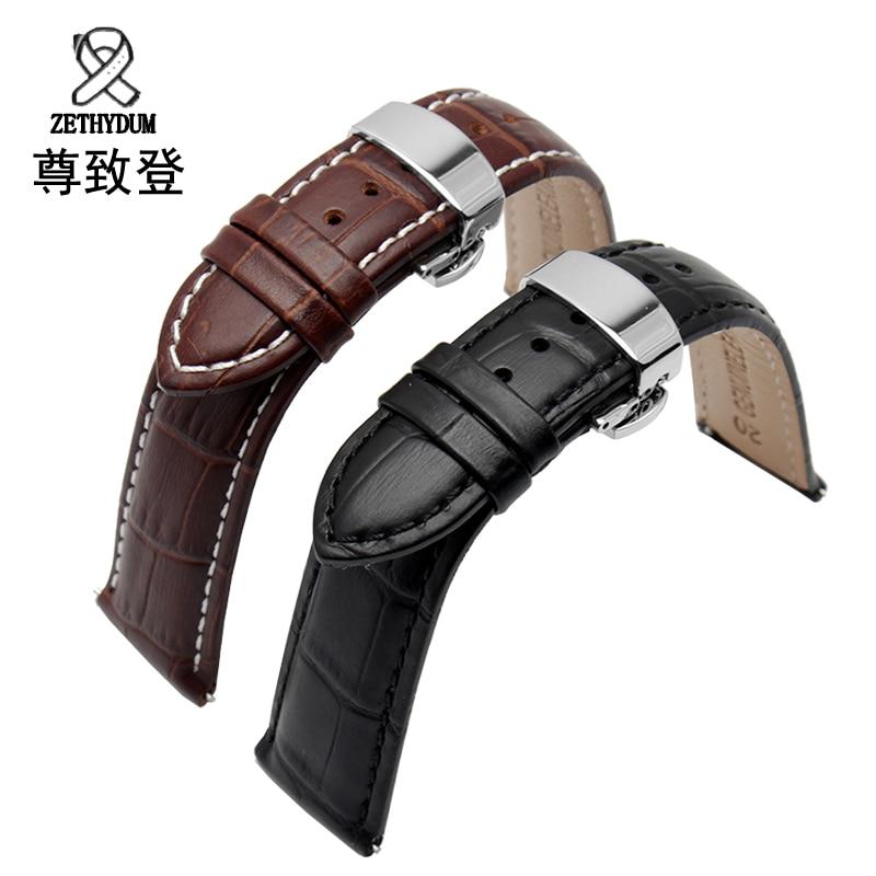 18/19/20/21/22 / 24mm ζεστό πώλησης γνήσιο δέρμα Watchband μαύρο καφέ αξεσουάρ ρολογιών για βραχιόλι Tissot Strap