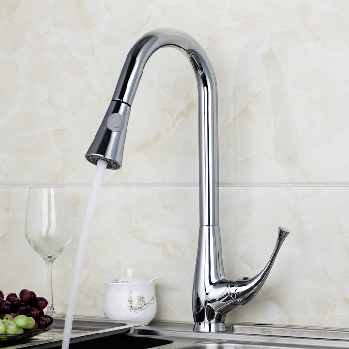 Auction Single Handle Swivel Chrome Kitchen Brass Faucet Basin Sink Pull Out Spray Mixer Tap S-744 Mixer Tap Faucet donyummyjo factory direct sale modern solid brass pull out spray chrome brass kitchen faucet mixer tap single handle two spouts