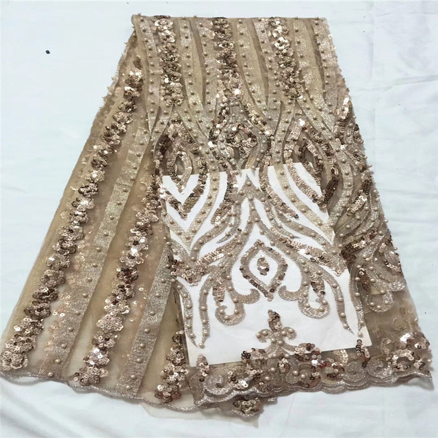 Stylish French Sequins Net Lace Noble Gold Sequins Fabrics For Party High Quality African Tulle Lace Fabric With Beads CDA122-1