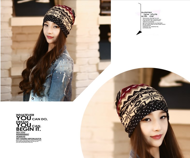 New Korean Fashion Set Hat Pile Cap Snowflake Pattern Turban Thin Cap Spring And Autumn Women Skullies Beanies Bonnet the new children s cubs hat qiu dong with cartoon animals knitting wool cap and pile