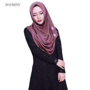 Image 3 - TJ85 Mới Dễ Dàng Mặc Hồi Giáo Hijabs Fashionscarf Của Phụ Nữ Tơ Lụa Vành Cao Số Lượng Nữ Khăn Showl (Không Thổ Cẩm)