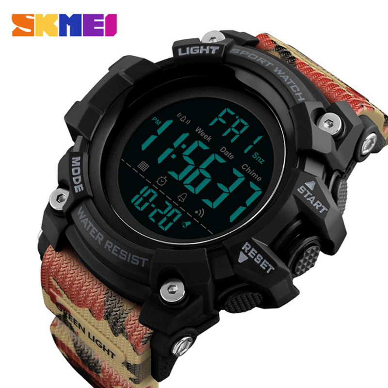 SKMEI Men Outdoor Sports Watch Countdown 2Time Alarm Fashion Digital Watch 5Bar Waterproof Wristwatches Relogio Masculino 1384