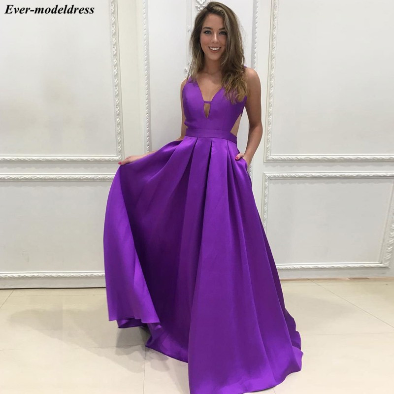 2019 Purple   Prom     Dresses   Long Sexy A-Line Backless V-Neck Sweep Train Lovely Evening Party Gowns Plus Size Vestidos De Festa