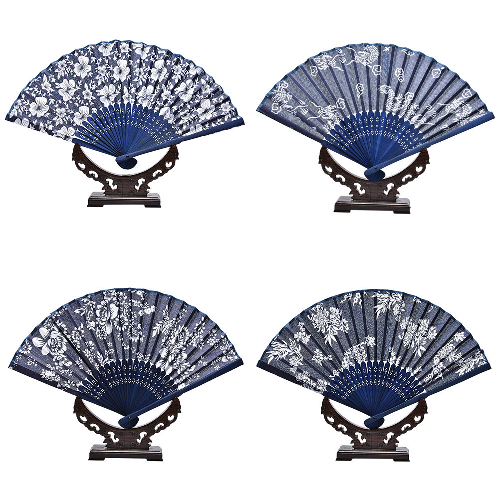 1PC Blue Fabric Hand Fan Cool Classical Flower Design Chinese Style With Dyed Blue Bamboo Frame Wedding Party Favor Decor