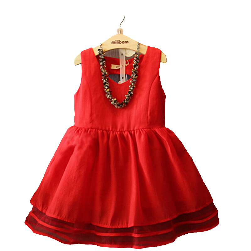 2019New Kids Dresses For Girls Princess Dress For wedding party Sleeveless Children Baby Girl Clothes Red 2T 3T 4T 5T 6T 7T in Dresses from Mother Kids