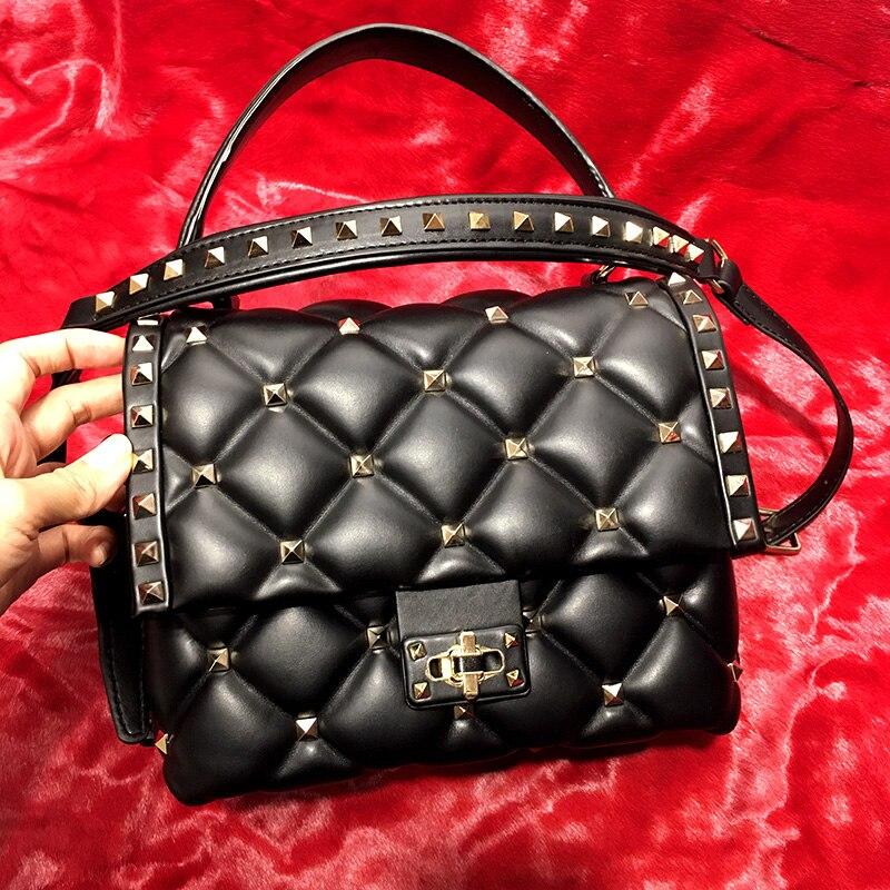 Luxe célèbre Designer marque femmes en peau de mouton en cuir sacs à main de haute qualité en cuir véritable sacs à bandoulière Rivet Messenger sacs