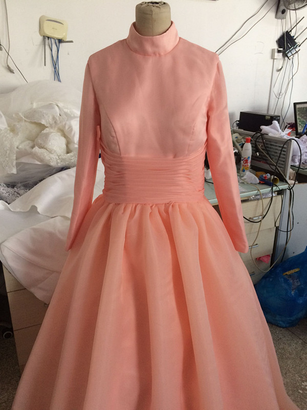 Vestidos De 15 Anos Ball Gown High Neck Long Sleves Tulle Orange Floor Length Quinceanera Dresses 2017 - 2