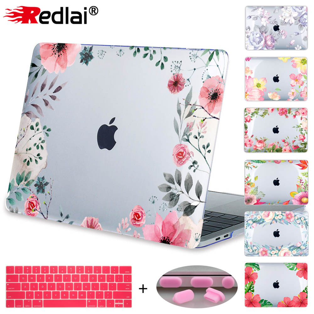 Redlai Case For Macbook New Pro 13 15 w/o Touch bar A1706 A1708 A1707 Laptop Case Air Pro Retina 12 13 15 Floral Print Hard Case print bar