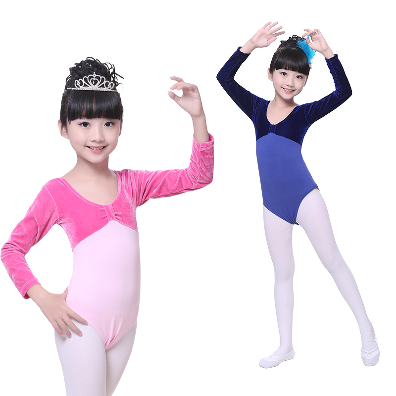 New 2017 Pink Six Colors Velvet Cotton Gymnastics Leotard Girls Toddler Long Sleeve Gymnastic Leotard For Girls