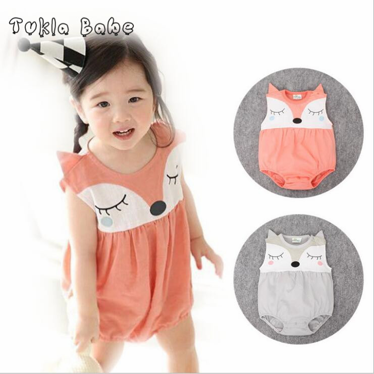Newborn kids boys girls clothes summer romper baby jumpsuit cotton cartoon fox sleeveless baby romper