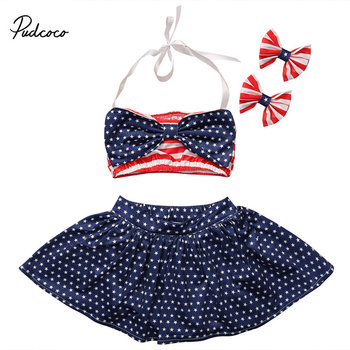 0-5Y Baby Girl Striped Polka Dot Bathing Suits For Children 3 Pieces Bownot Beach Bikini Set Girls Biquini Infantil Suit