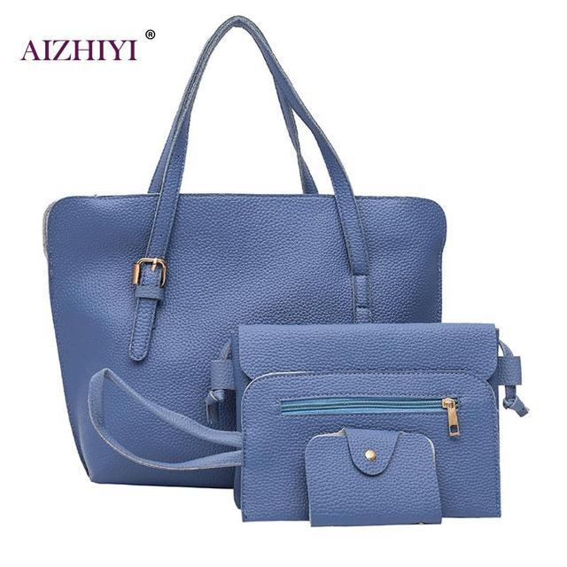 ab4258dcbbff 4Pcs Set Women Solid Composite Bags Fashion Women Leather Handbags Big  Capacity Shoulder Bags Ladies