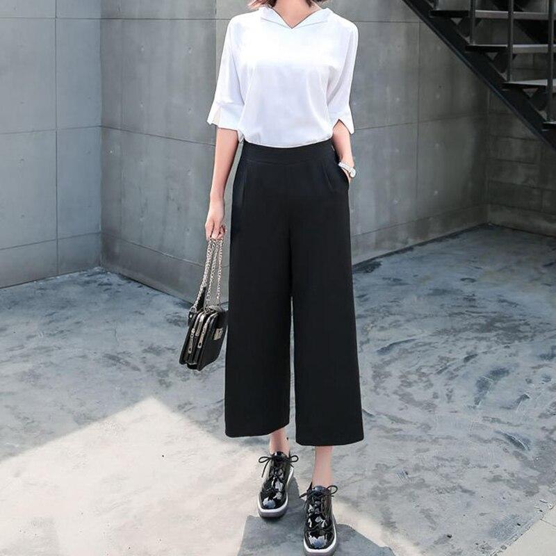 Women Black Wide Leg Chiffon Pants Casual Loose Palazzo Trousers Elegant Zipper Pants High Waist Loose Summer thin Pant