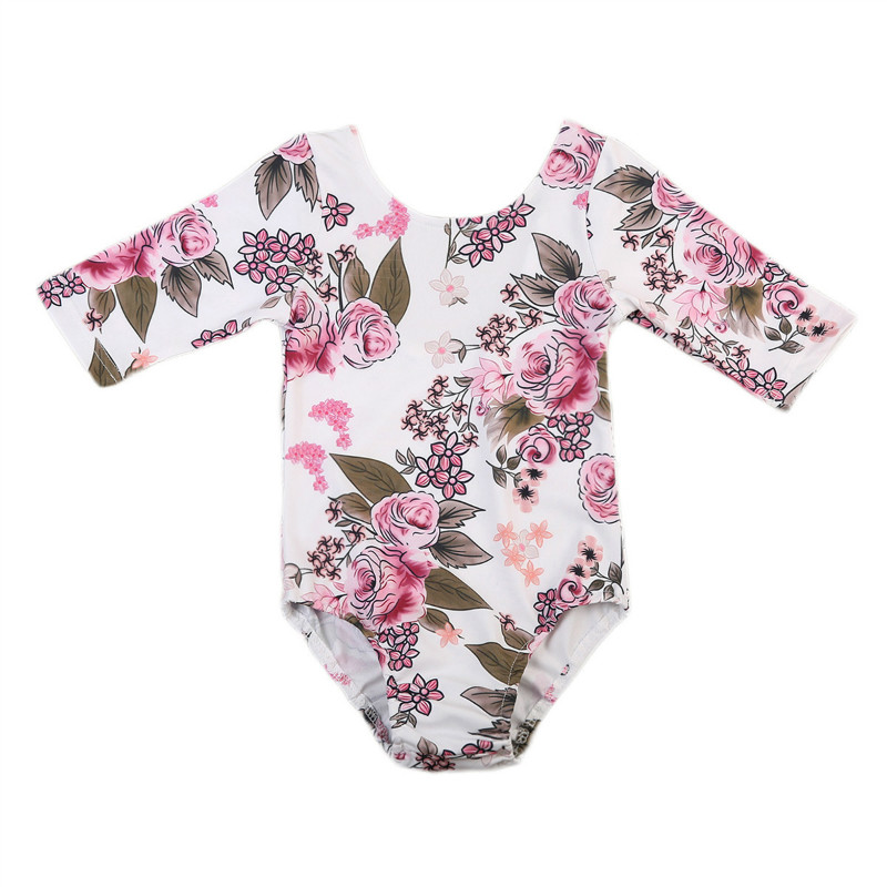 Pudcoco Newborn Baby Girls Romper Flower Toddler Kids Baby Girls Clothes Flower Long Sleeve Baby Romper Jumpsuit