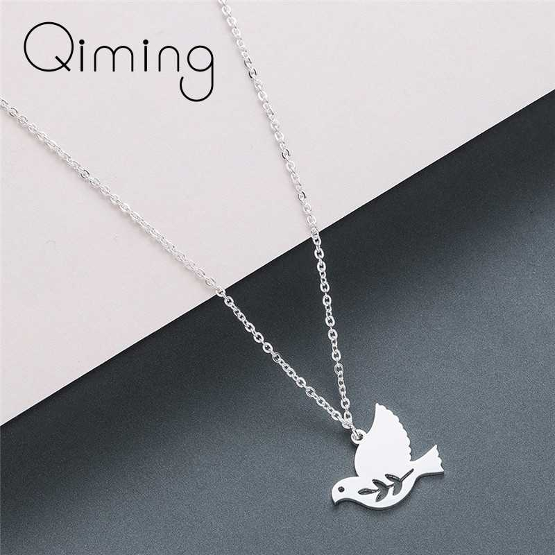 Women's Dove Bird Necklace Stainless Steel Olive Branch Leave Fashion Jewelry Gold Cute Animal Necklaces Girls Gift