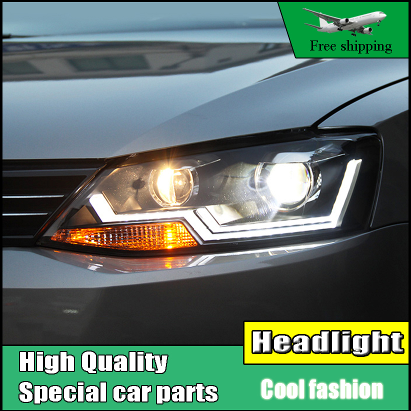 Car Styling Head Lamp case For VW Jetta MK6 2012-2016 Headlights LED Headlight DRL Daytime Running Light Bi-Xenon Lens abs chrome front head light headlight lamp cover trim for volkswagon vw jetta 6 mk6 2010 2011 2012 2013