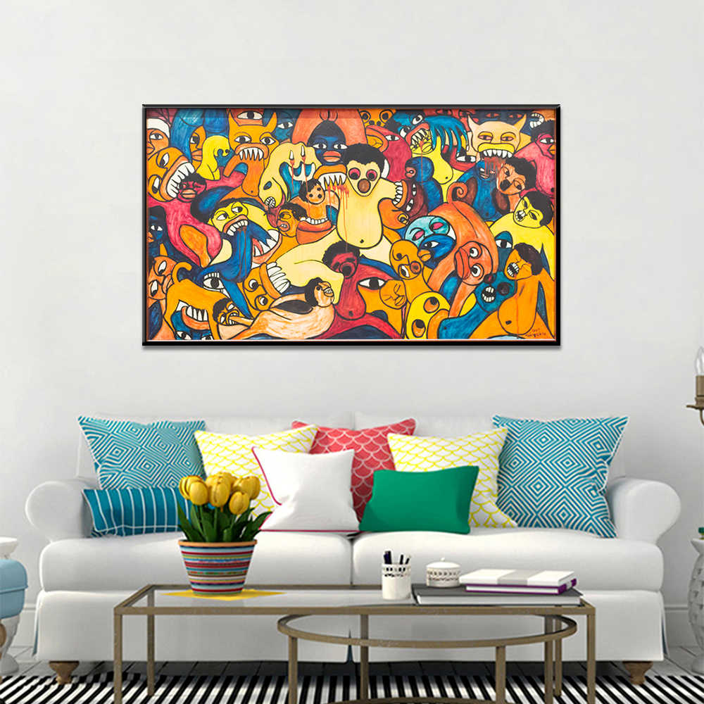 Abstract Graffiti Bite Thriller Posters And Prints Wall Picture For Living Room Home Decoration Canvas Painting