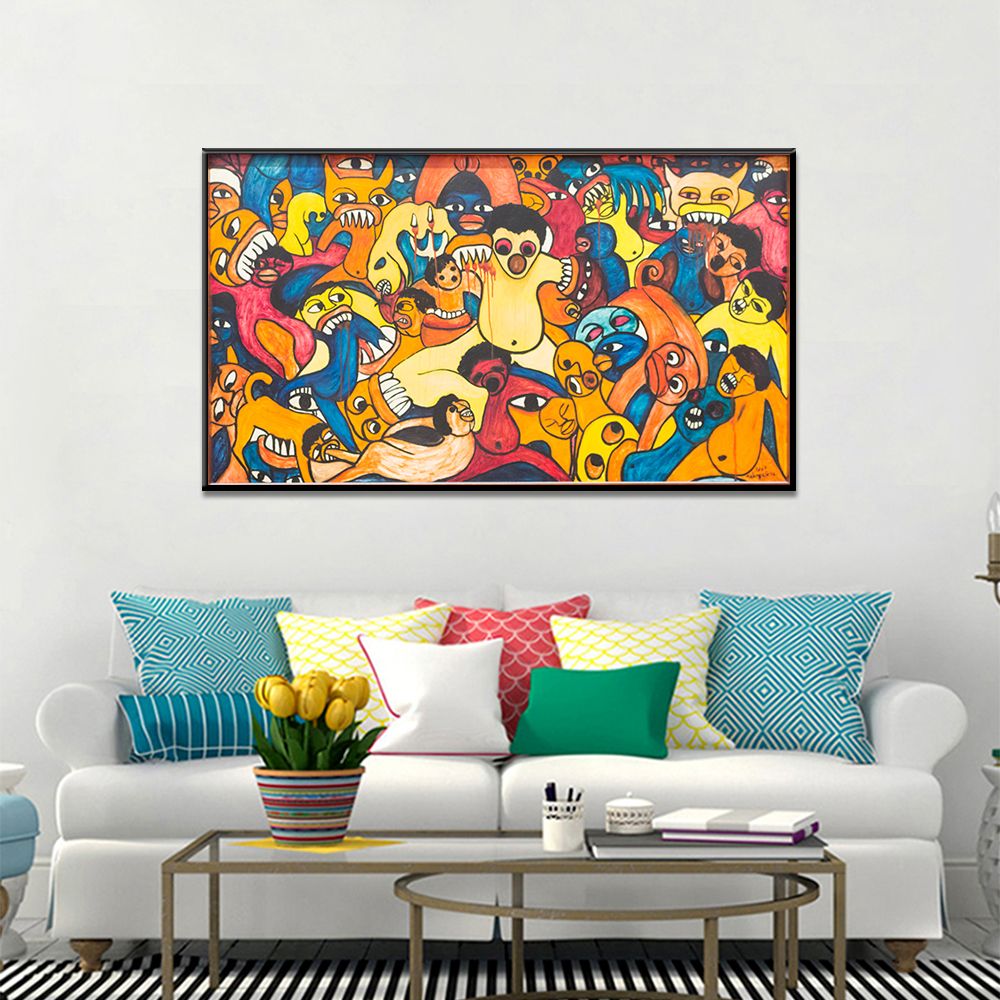 Unframed Canvas Abstract Graffiti Bite Thriller Print Painting Posters Wall Picture For Living Room Home Decor Dropshipping