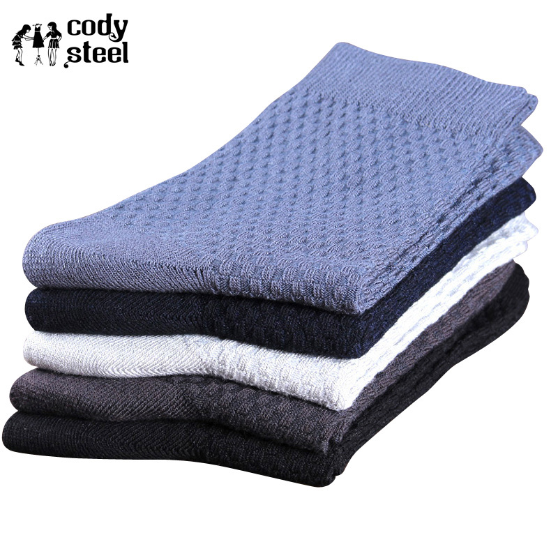 Cody Steel Men Bamboo   Socks   Fashion Small Lattice   Socks   Brand Man Classic All-Match Business   Socks   Male 5pairs(Fit 39-43)