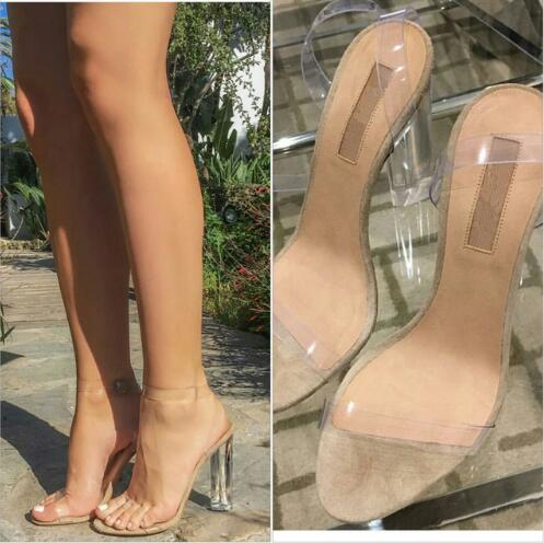New design women clear sandals crystal high heel buckle strap women party shoes 9cm 11cm transparent women wedding sandals new women gladiator sandals ladies pumps high heels shoes woman clear transparent t strap party wedding dress thick crystal heel