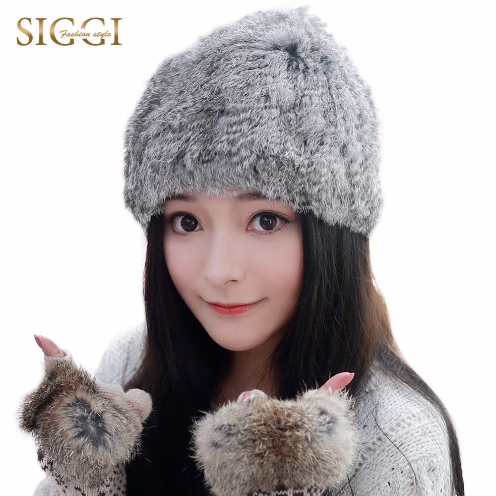 ФОТО SIGGI  Women Winter 100% Rabbit Fur Beanie Hat Genuine Hats Knitted caps Female Russian Headwear Windproof Soft Warm Hats