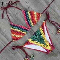 Floylyn Women Triangle Bikini Set Sexy Print Swimsuits Push Up Brazilian Beach Bathing Suits Maillot De