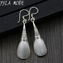 Unique 925 Thai Silver Flower Fish Carved Drop Dangle Fashion Vintage Earrings For Women Jewelry