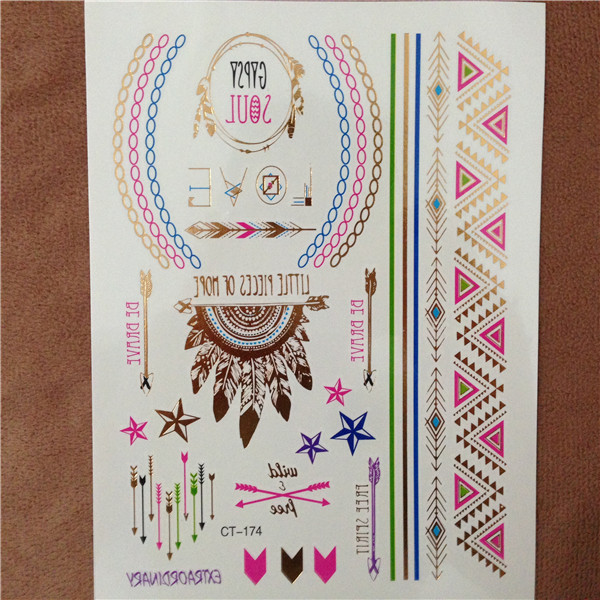 Style Body Art Painting Tattoo Sticker Gold Silver Temporary Flash Tattoo Paste Disposable Indian Colorful Tattoos