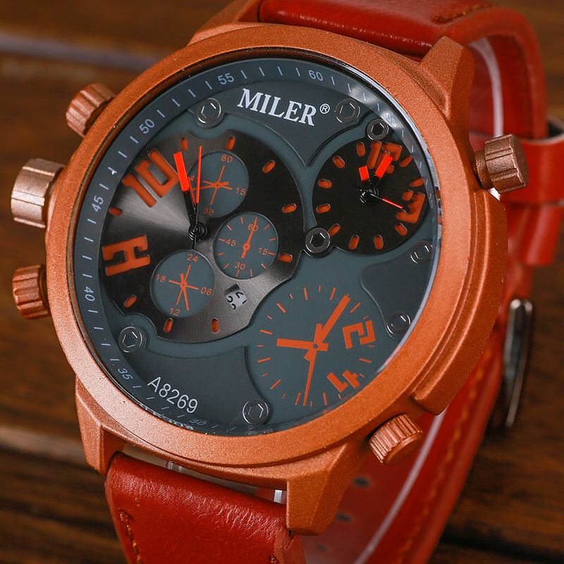 Mens Big face Watches Two Dial Time Sport Leather Strap Casual Calendar MILER Brand Men Quartz Watch Clocks Horloges Mannen  pure white dial face ziz time watches navy