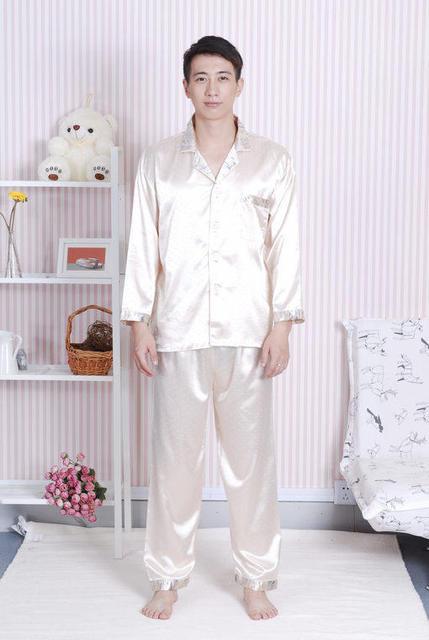 Venta caliente China de Oro Masculino Satén Pijamas Set Camisa + Pantalones 2 UNIDS ropa de Dormir de Manga Larga DropShipping Tamaño S M L XL XXL A0160