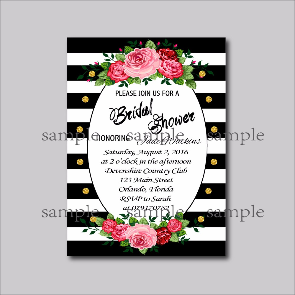 20pcs Black White Stripe Bridal Shower Invites Wedding Invitations