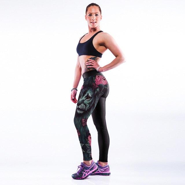 3D печати лев мода здания леггинсы талия сенсорное управление юга runnning брюки горячие девушки тела тренировки брюки