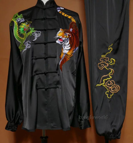 Tai chi Uniform Dragon Tiger Embroidery Bruce Lee Kung fu Clothes Wushu Taiji Clothing Martial arts Suit 2016 chinese tang kung fu wing chun uniform tai chi clothing costume cotton breathable fitted clothes a type of bruce lee suit