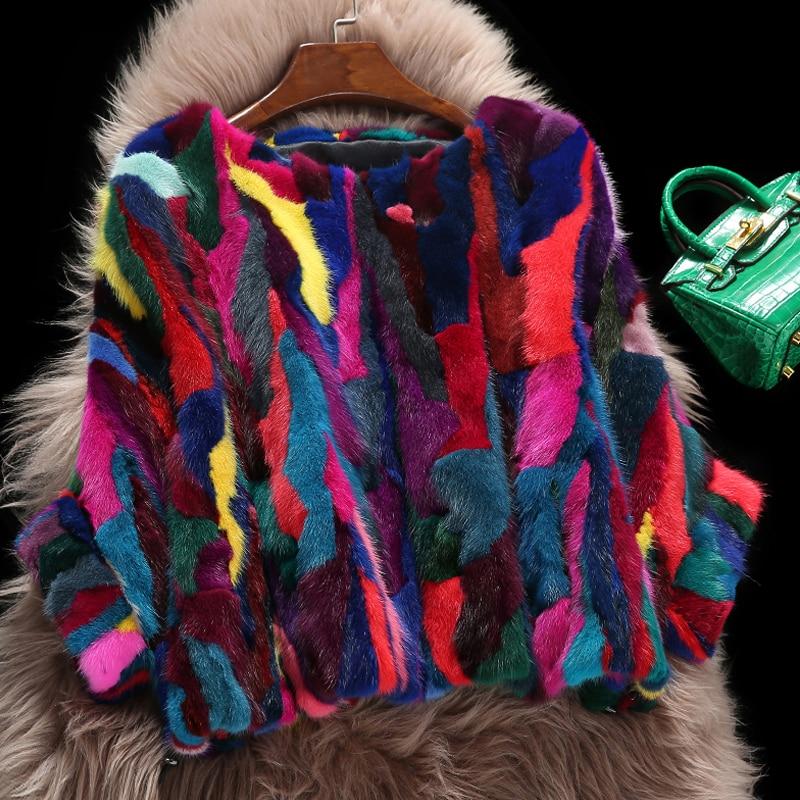 Marki fabryka hurtownie prawdziwe futro z norek płaszcz Bat rękaw projekt naturalny Mix wielu kolorach futro z norek kurtka TSR81 w Prawdziwe futro od Odzież damska na AliExpress - 11.11_Double 11Singles' Day 1