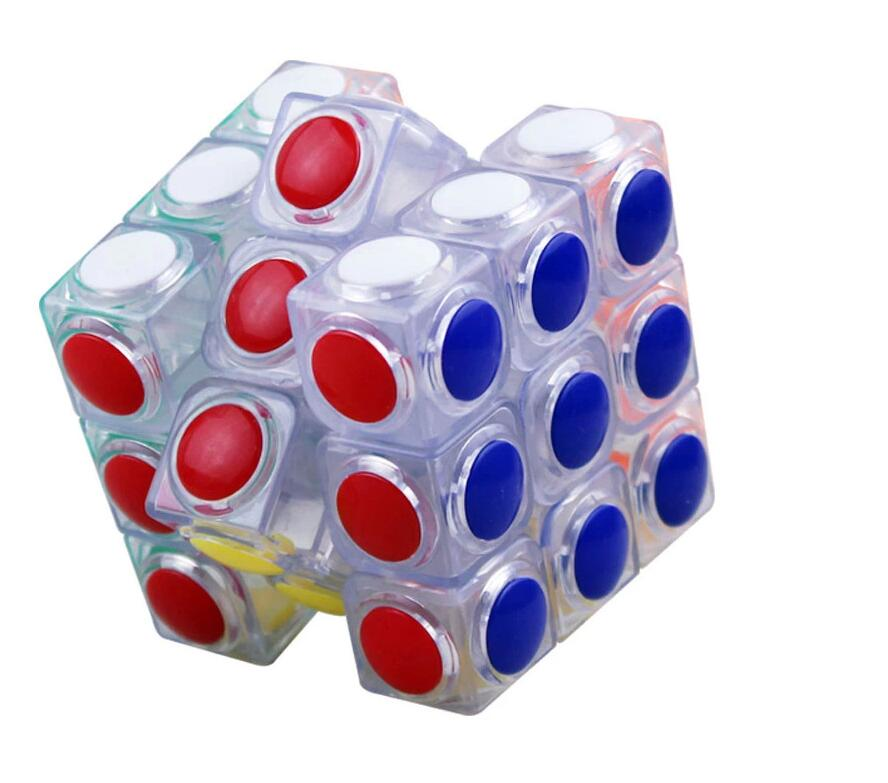 Brand New YJ Transparent Magic Cube 3x3x3 Speed Puzzle Cube Game Dot Shape Cubos Magicos Professional Puzzle Game Toys Gifts