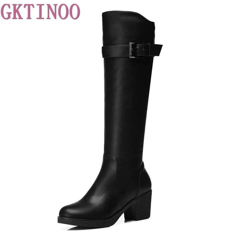New Arrive Over The Knee Boots Women Fashion Winter Leather Boots Woman Shoes Autumn Zip Thick Heel Thigh High Boot Female