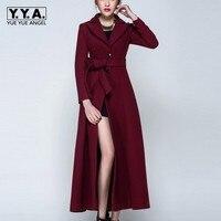 British Top Quality Womens Wool Coat Blends Super Long Elegant Lady Overcoat Wool Winter Warm Coat Female Belted Jackets S 3XL