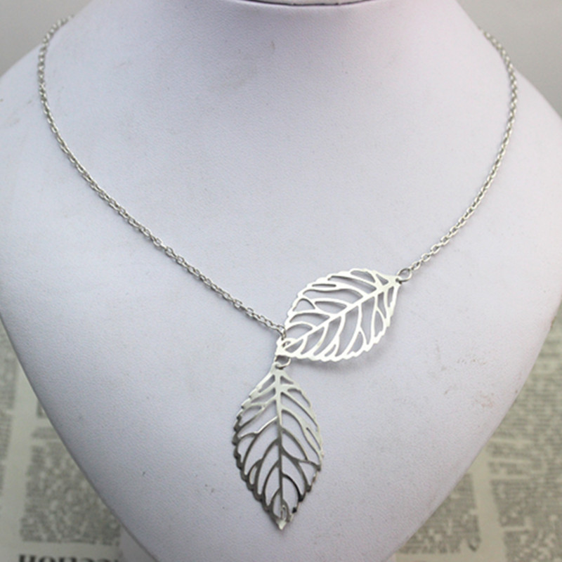 Leaf necklace double leaf necklace aloadofball Image collections